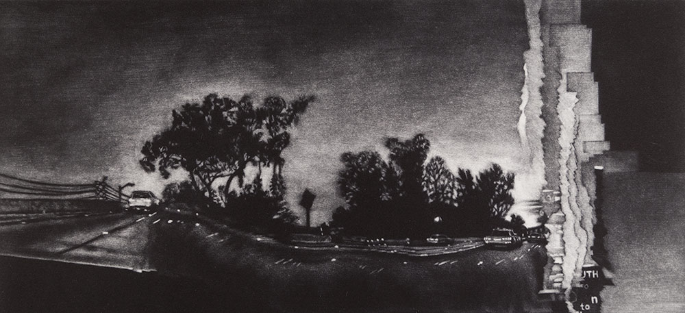 Image of a Los Angeles cityscape panorama print. Southbound on the 110: Elysian Park, Mezzotint intaglio print, 11 x 5 inch image size, 2015