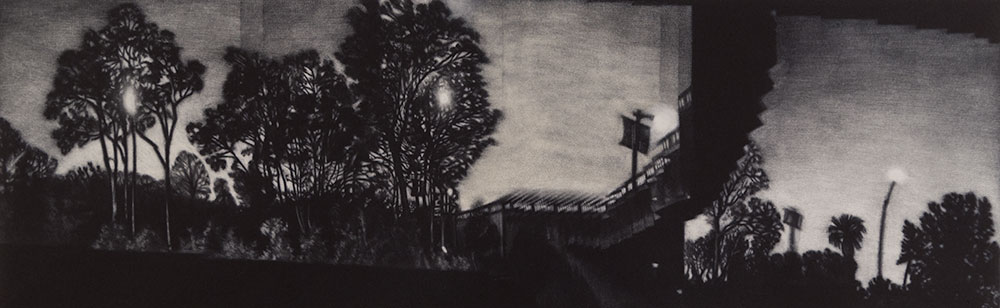 Image of a Los Angeles cityscape panorama print. Southbound on the 5: Los Feliz, mezzotint intaglio print, 16 x 5 inch image size, 2015